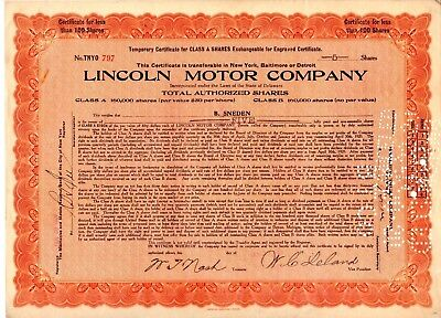 Lincoln Motor Company 1920 Stock Certificate - 98 year old - excellent condition