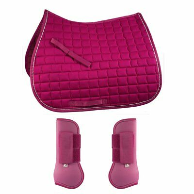 Horze Pony Saddle Pad & Tendon Boot Set (Deep Pink)