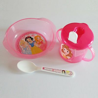 Baby 3 Piece Feeding Set - Bowl, Spoon & Sippy Cup - Disney Princess