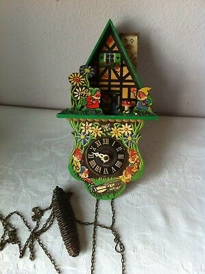 Antique Wooden Painted Wall Clock Gnomes House 3D Woodland Hand Painted  - A/F
