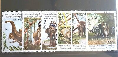 1982 Full Set of 6 Laos Stamps - Indian Elephants - Used LH