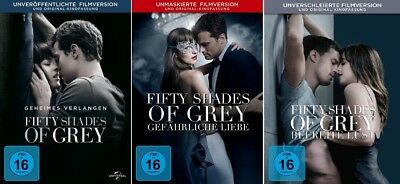 3 DVDs * FIFTY SHADES OF GREY - FILM 1  + 2 + 3 IM SET # NEU OVP +