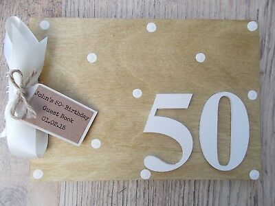 Personalised 50Th Birthday Wooden Guest Book Any Wording Any Age