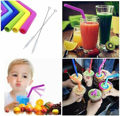 Drinking Silicone Straws Random Colour Various Thick Thin Bendy Cleaning Brush