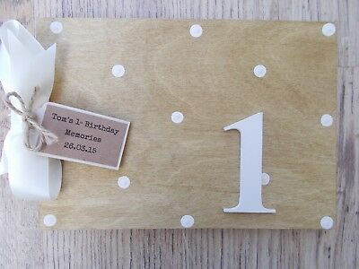 Personalised Babys 1St Birthday Wooden Guest Book Any Wording Any Age