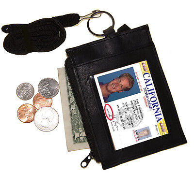 BLACK LEATHER NECK LANYARD ID BADGE HOLDER Zip Pocket Key Ring Wallet GIFT
