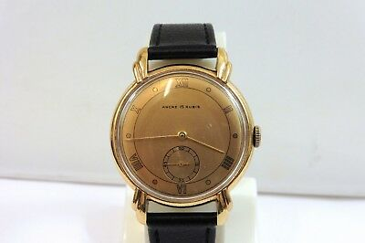 1940s GENTS LOVELY ART DECO ANCRE 15 RUBIES WRISTWATCH IN GOOD CONDITION