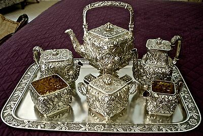 2 Die 4 Aesthetic Sterling Butterfly Repousse Tea Coffee Set Dominick Haff 1881