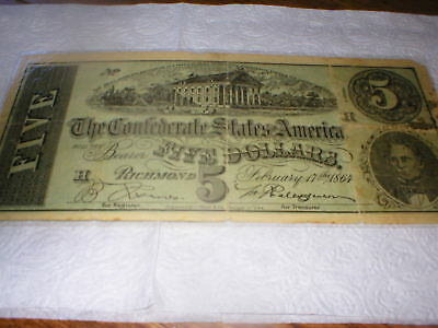 five dollar confederate states of america