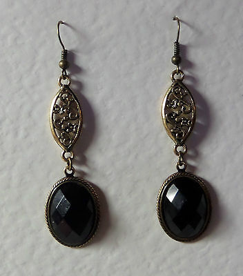 Victorian Style Faceted Black Oval Gold Plated Marquise Shape Earrings