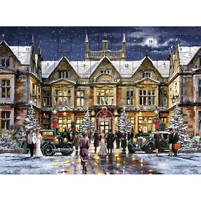 1930 Style Manor House Glittered Advent Calendar - 225mm x 305 mm – 24 Doors