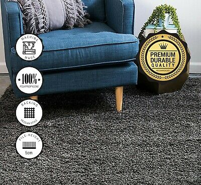 New Large Dark Grey Rug 5cm Thick Pile Soft Gy Area Rugs Modern Carpet