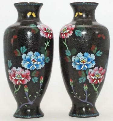SUPER MIRROR PAIR OF JAPANESE 19th C CLOISONNE VASES