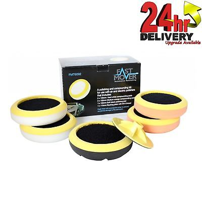 Fast Mover Polishing & Compounding 6 Piece Pads Kit With Protective Collars