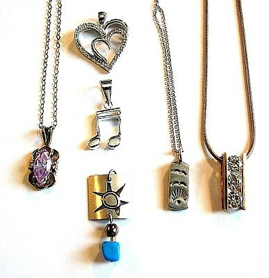 Vintage to Now Lot of 6 Sterling Silver & Vermeil Small Pendants/Necklaces