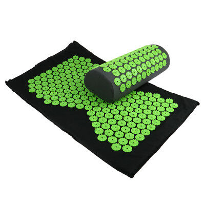 Acupressure Mat and Pillow Back Massager Yoga Bed Mattress Pad Nails Cushion