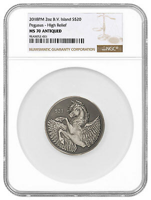 2018 British Virgin Isl 2 oz HR Silver Pegasus Antiqued $20 NGC MS70 SKU54337