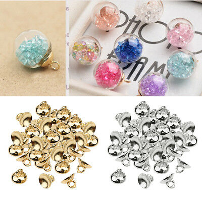 200x Ball Pendant End Cap Craft Bell Shape Bead Caps Jewelry Making Findings