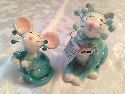 Amy Lacombe WhimsiClay DREAM Cat Figurine 86185 with CARRI mouse