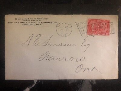 1897 Toronto Canada Canadian Bank Of Commerce Front Cover To Harrow Ontario