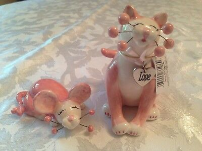 Amy Lacombe WhimsiClay LOVE Cat Figurine 86186 with TERRI mouse