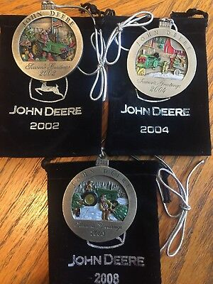 John Deere Pewter Christmas Ornaments Set Of 3- 2002, 04, 08