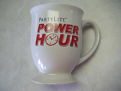 """PartyLite """"Power Hour"""" Pedestal Mug, White, Red Large NEW - REDUCED !!! RARE!!!"""