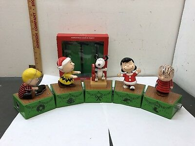 Hallmark 2017 Peanuts Christmas Dance Party Set 8 Pcs New Snoopy Charlie Brown