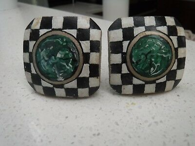 Vintage Set of 2 Checkered Drawer Pulls Knobs Handles Square