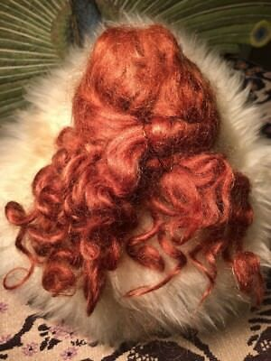 """Vintage 100% Mohair Doll Wig Auburn Size 7"""" For Restore As Found"""