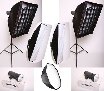 Fotostudio Set - Walimex VC 300 Studioblitz + Octabox, 2x Softbox, 2x Striplight