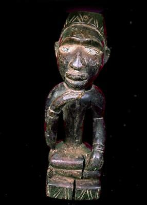 Old  Tribal Bakongo Seated Figure With Glass Eyes     -- Congo