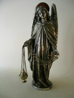 Antique bronze silver plated Angel with incence censer (altarpiece)
