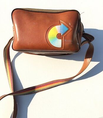 Vintage Kodak Instant Camera Tote Bag Faux Fur Lined Rainbow Adjustable Strap