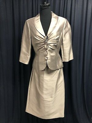 Adrianna Papell Mother Dress 2 Piece Mocha Gold Size 10