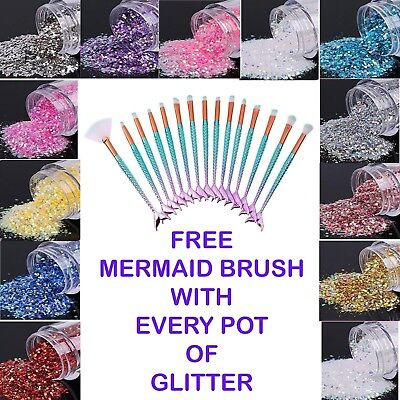 FREE Mermaid Brush with EVERY pack Festival Mixed Fine & Chunky Glitter