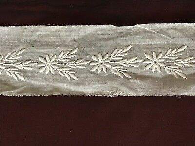 """Antique French hand EMBROIDERY ON LINON INSERTION TRIM 42"""" by 2"""""""