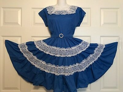 Square Dance Dress Navy Blue And White Dotted Swiss  S/m