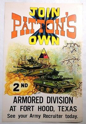 P168 Vintage JOIN PATTON'S ARMORED DIVISION Display Ad Poster US Printing (1974)