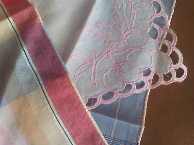 Lot of 3 vintage pastel patterned plaid cut-away embroidered handkerchiefs