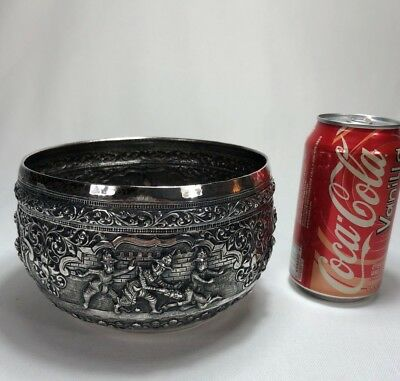 Superb Quality Antique Chinese Asian Pure Silver Repousse Figural Bowl SIGNED