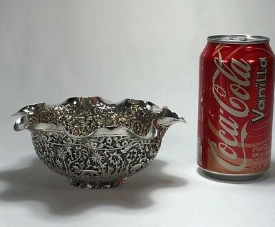 Great Quality Antique Chinese Asian Pure Silver Repousse Figural Animals Bowl
