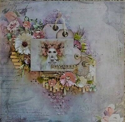 "Handmade Pre-made Mixed Media 12"" x 12"" Scrapbook Page Layout - Mysterious"