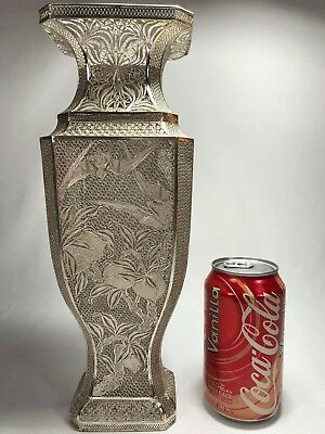Museum Quality Antique Sterling Silver Chinese Filigree Vase w Bats Signed 950g