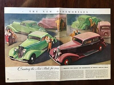 E 1933 The New Oldsmobiles Car Ad 12 x 8 1/2 connected 2 page