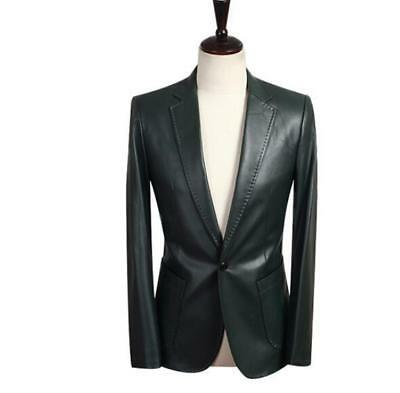 One Button Men's Faux Leather Coat Soft Slim Fit Single Breasted Business Blazer