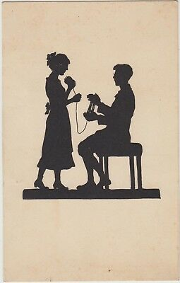 SILHOUETTE LADY and GENTLEMAN  Yarm Wool FANTASY Vintage German PC 1916