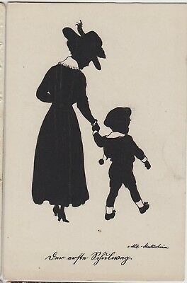 SILHOUETTE LITTLE BOY with Mother Lady FANTASY Child Vintage German PC c1920s