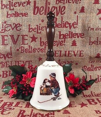 """GORHAM China BELL 1979 Norman Rockwell """"A BOY MEETS HIS DOG"""" 8-7/8"""" Tall VINTAGE"""