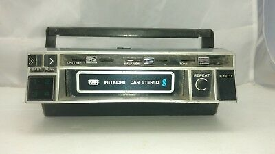 Vintage Hitachi CS-1750 IC 8 track tape car stereo with under dash mount